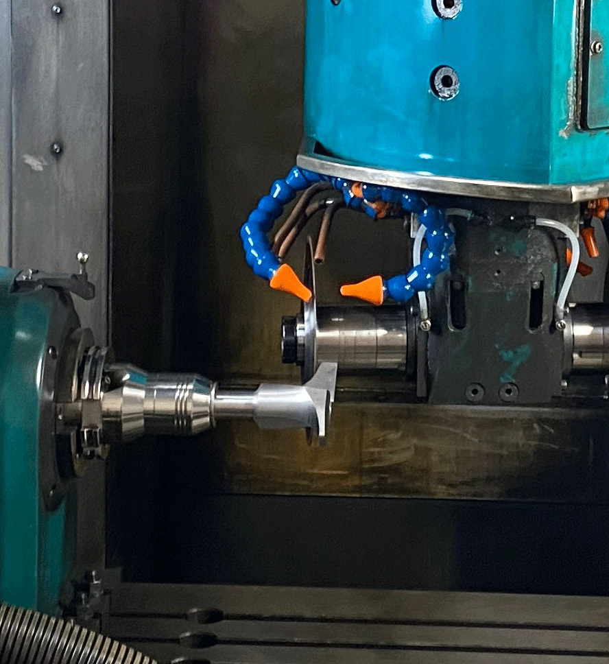 Close up of manufacturing of a 5 axis Router Bit with our CNC machine at Total Tooling Technology